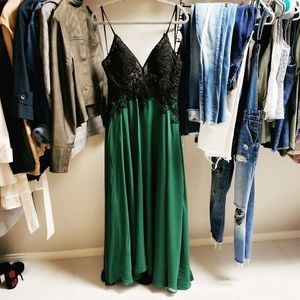 Dresses & Skirts - NEVER WORN! Green + Black Evening Gown